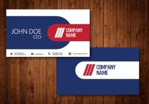 دانلود کارت ویزیت ساده و شیک طرح آبی و قرمز