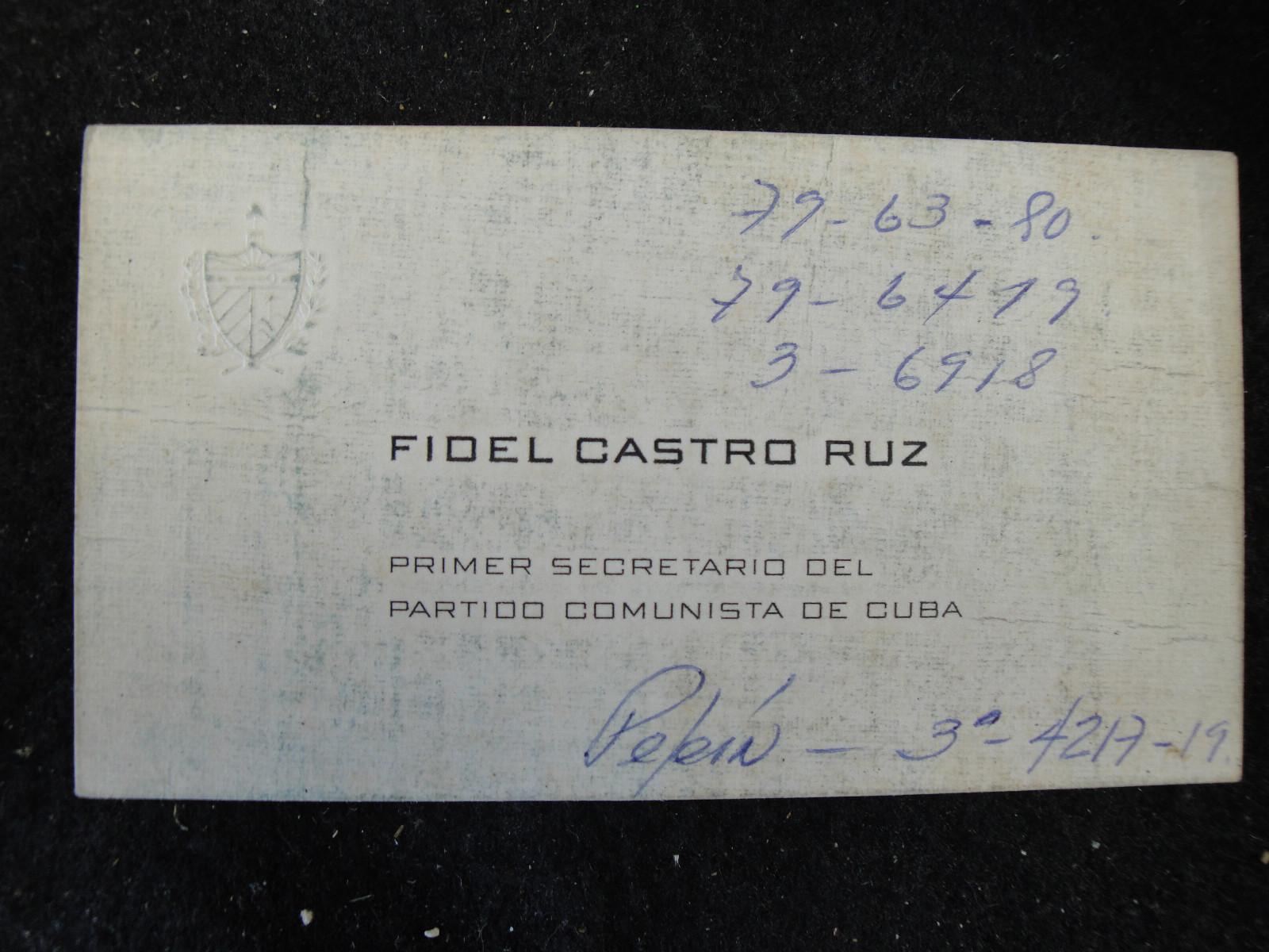 کارت ویزیت فیدل کاسترو