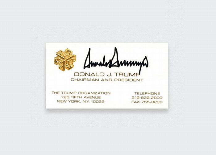 کارت ویزیت دونالد ترامپکارت ویزیت دونالد ترامپ