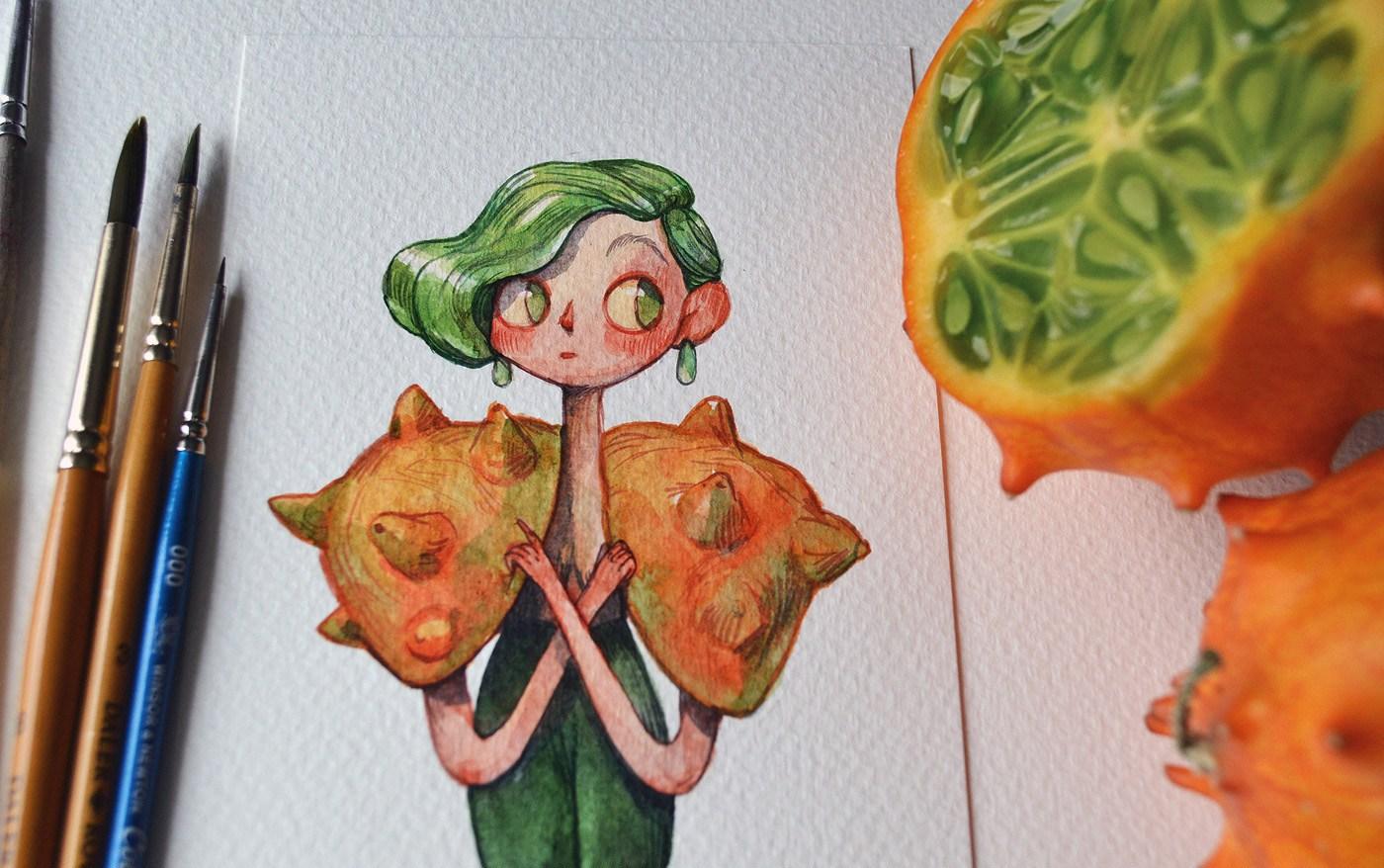 طراحی کاراکتر با الهام گرفتن از میوه ها
